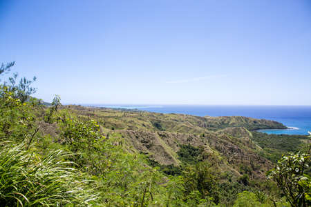 View of the Pacific Ocean from the mountains in Guam.