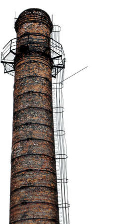 Isolated old brick industrial chimney over white
