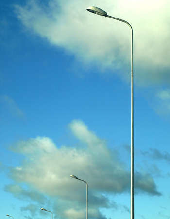 Street lamps on cloudy background