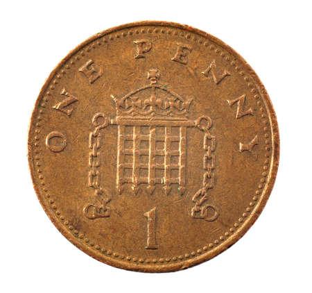 1 pence coin - detailed closeup macro    Stock Photo