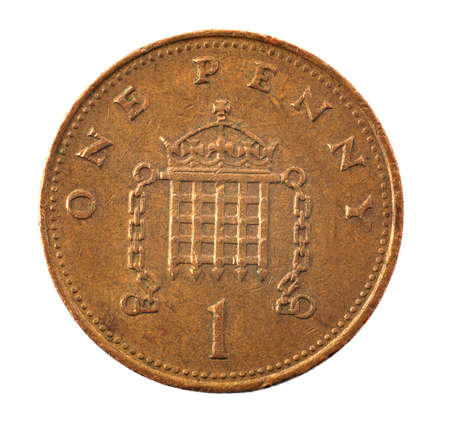 cent: 1 pence coin - detailed closeup macro    Stock Photo