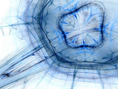 Abstract circlular blue ink streams