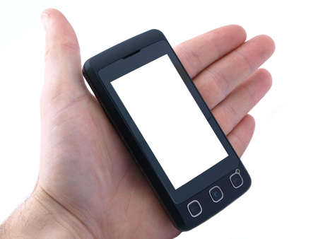 Touchscreen cell phone with copy space for text on screen ( path for screen included)