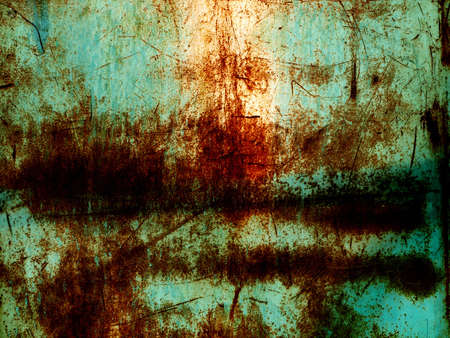Rust and scratched paint on metal photo