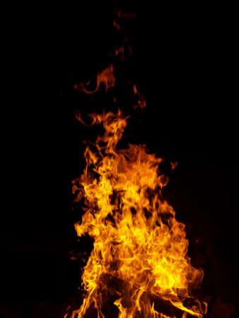 Fiercy flaming bonfire in the dark