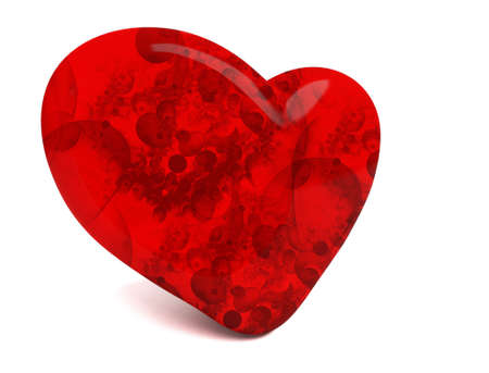 Big Red heart isolated on white Stock Photo