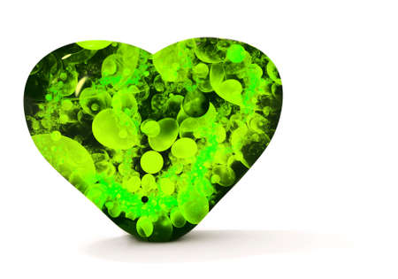 Green heart isolated on white Stock Photo
