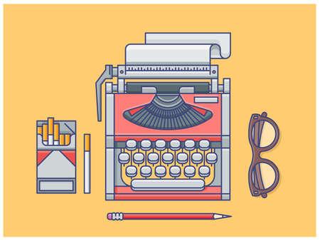 Typewriter, eyeglasses, cigarette, pencil Ilustrace