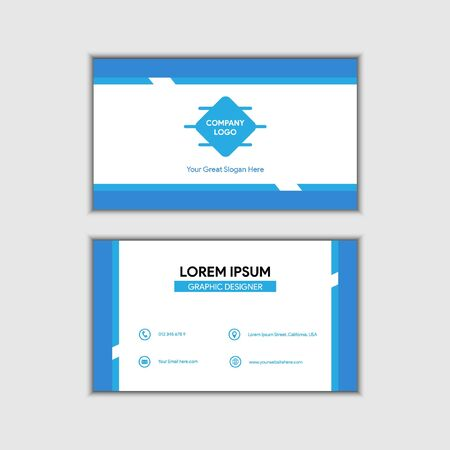 Abstract Blue Company Vector Business Card, Easy Editable in separated layer