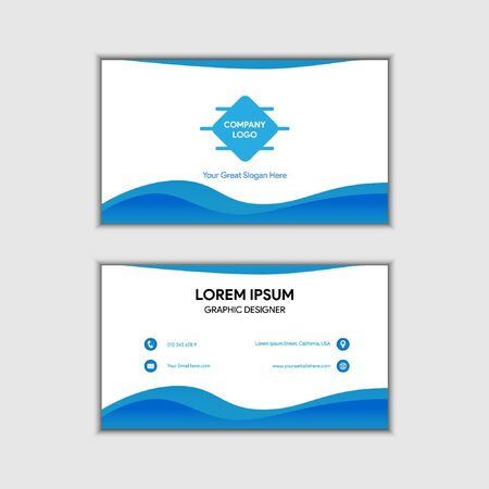 Gradient Wavy Blue Company Vector Business Card, Easy Editable in separated layer