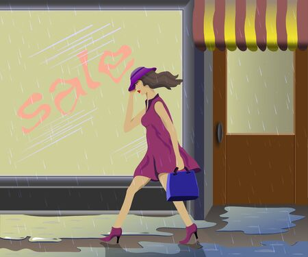 A girl walks past a store  Drips heavy rain  Vector