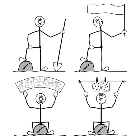briefs: four people. Holds a poster, flag, a shovel, briefs on the rope. Illustration