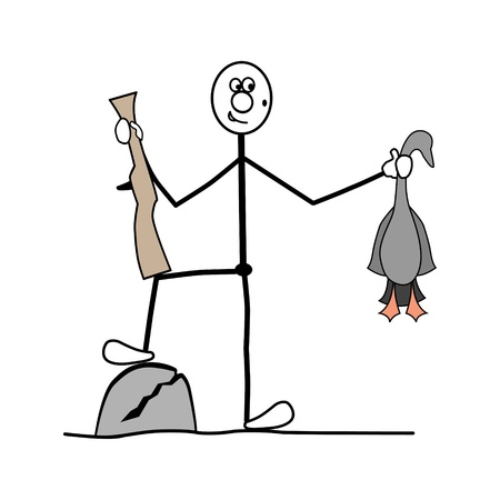 stroke of luck: a man stands at the foot of the stone. in the hand holding a duck.