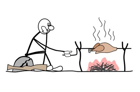stroke of luck: a man sitting on a rock. the bird is roasted over a fire. rifle, near the stone Illustration