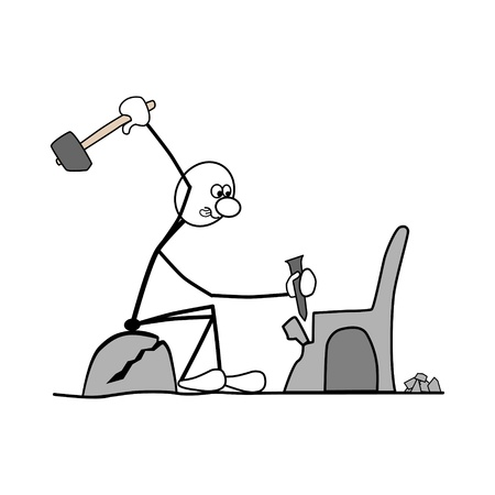 a man sitting on a rock. working with a hammer. making a chair.