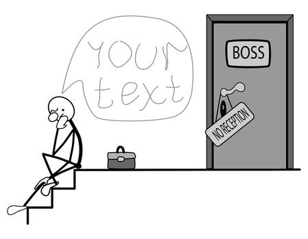 acirc: a man sitting on the stairs. the door is closed. Illustration