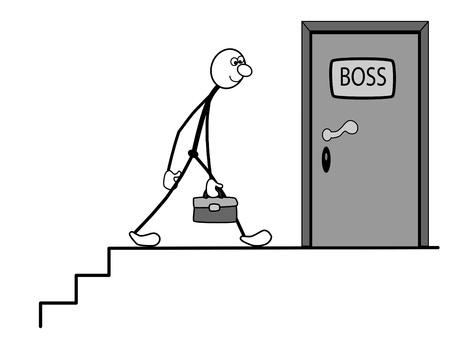 nbsp: Employee goes to the boss. In his hand is the portfolio.