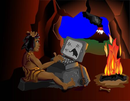 forefather:  The wild man is sitting in a cave near the fire and running on your computer. On different layers.  Illustration