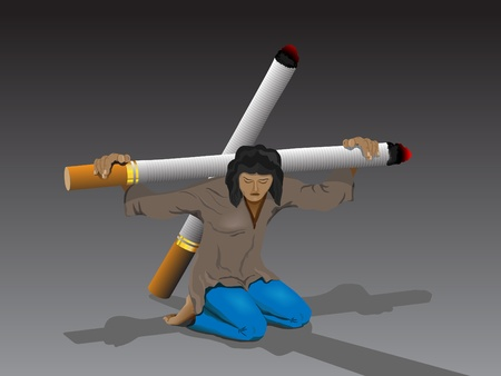 A young man stands on his knees. On his shoulders the heavy cross of cigarettes