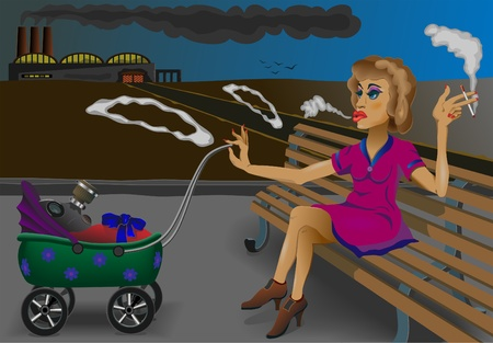 hair mask:  A young mother sits and smokes. The child is lying and breathing through a gas mask.   The plant makes the smoke. Different layers. EPS 8. Illustration
