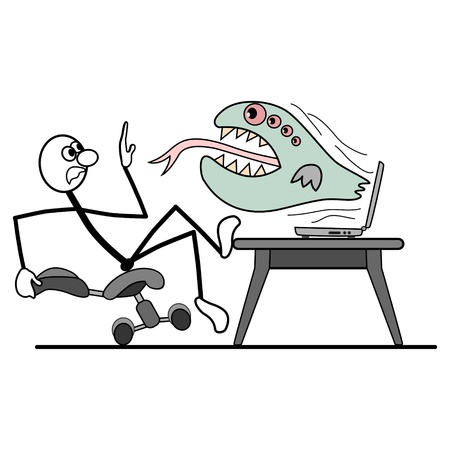 from computer crashes virus. man falls from his chair. Vector