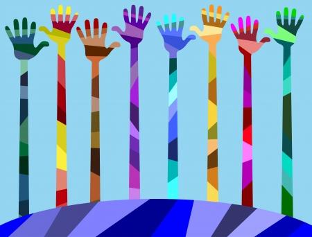 muchas manos de diferentes colores. manos levantadas