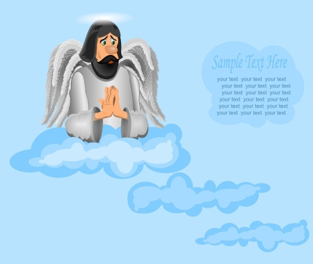 stately: good angel on a cloud. looking at the bottom. Illustration