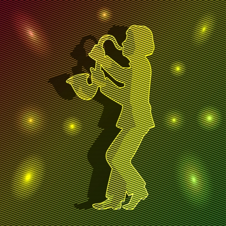 man playing the saxophone. around bright lights. beautiful lights. Stock Vector - 15652058