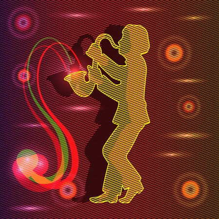 man playing the saxophone. around bright lights. beautiful lights. Vector