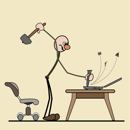 man standing. tapping with a hammer on the computer. parts flying. next chair Stock Vector - 15800304