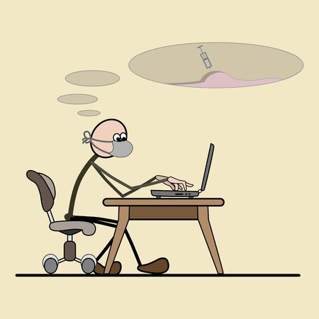 Programmer sitting in a chair. computer on the desk. removes computer viruses. Vector