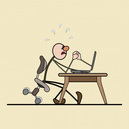 tension: man sitting on a chair. computer on the desk. struggle between them. strong tension