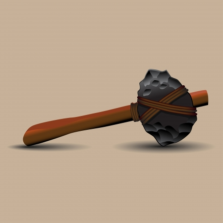 primitive tools: stone ax, primitive, lies in the plane. unnecessarily tight rope