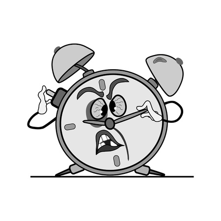 battered: battered alarm clock is on crooked legs. trying to push the button.