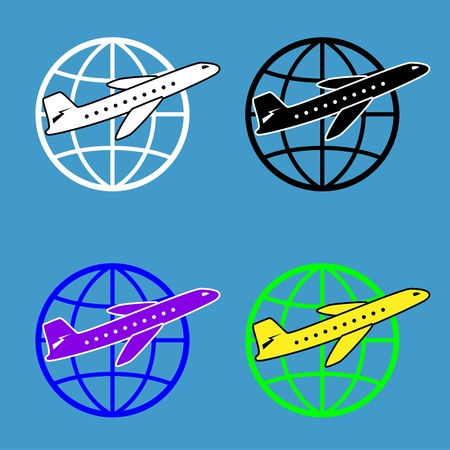 set of 4 aircraft on a globe. 4 colors Vector