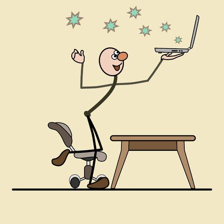 nbsp: man holding a laptop. leg on a chair. flying star.