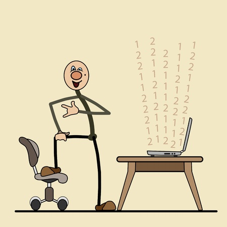 nbsp:  man communicates through a computer. laptop on a table. leg on a chair. spread out in layers. For printing, advertising, websites Illustration
