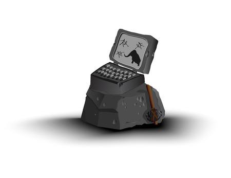 Piedra del ordenador portátil. De pie sobre una gran roca. Cerca del hacha. diferentes capas. .