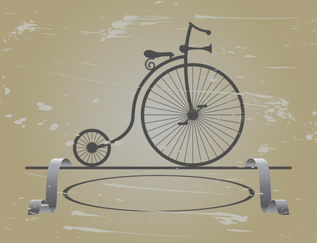 velocipede: Retro  velocipede stands around the edges of the ribbon and a lot of scratches