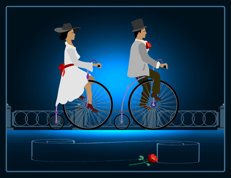 lapel: Lady on a bicycle near a gentleman with a flower in his lapel of his jacket. Illustration