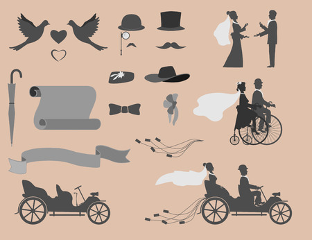 set of wedding invitations on the retro bikes and vintage cars, different objects for designers. Vector