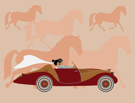 become: strong horse graceful, beautiful powerful, stylish car. become love. Designers and photographers to work. Illustration