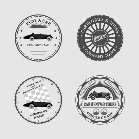 for designers: set of labels rent a car, icons, stickers and tools for designers