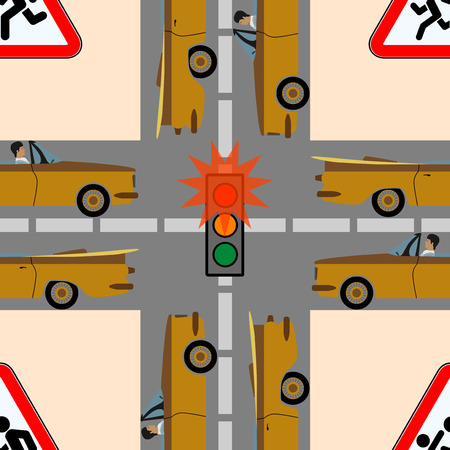 rules of road: Traffic lights and signs on the road on which move a lot of cars, seamless texture