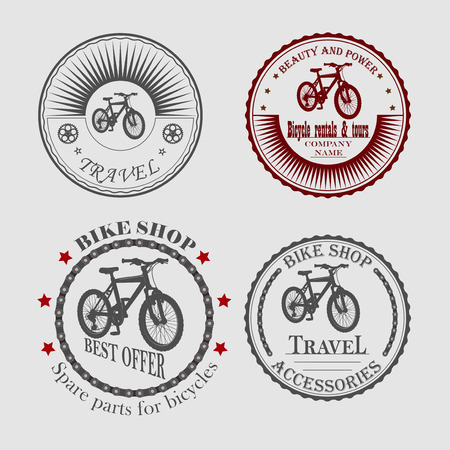 for rental: set of labels sales and rental bikes of different shapes for designers