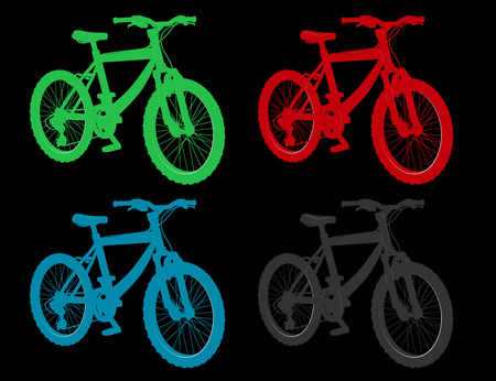 set of labels for sale and rent a bike in different colors for designers and advertising Vector