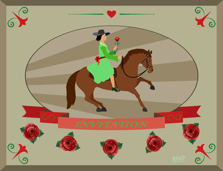 thoroughbred horse: elegant lady sitting on a thoroughbred horse and holding a flower in her hand Illustration