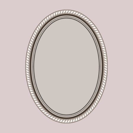 openwork oval frame with thread on a pink background