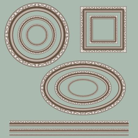 なでる: 円、楕円、正方形、緑色の背景でスレッド透かしフレーム。