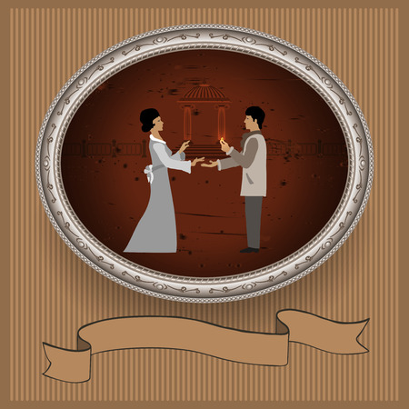 love dome: The young man gives a girl a gold ring